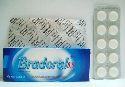 برادورال أقراص مطهر ولعلاج التهابات الفم والحلق Bradoral Tablets
